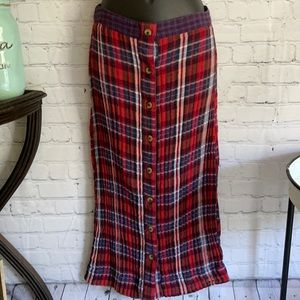 Urban Outfitters 100% Cotton Plaid Bottom Down Skirt